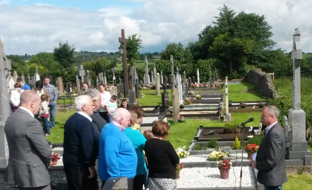Veteran republican Sean Hughes speaking at Martin Hurson's grave in Galbally, County Tyrone