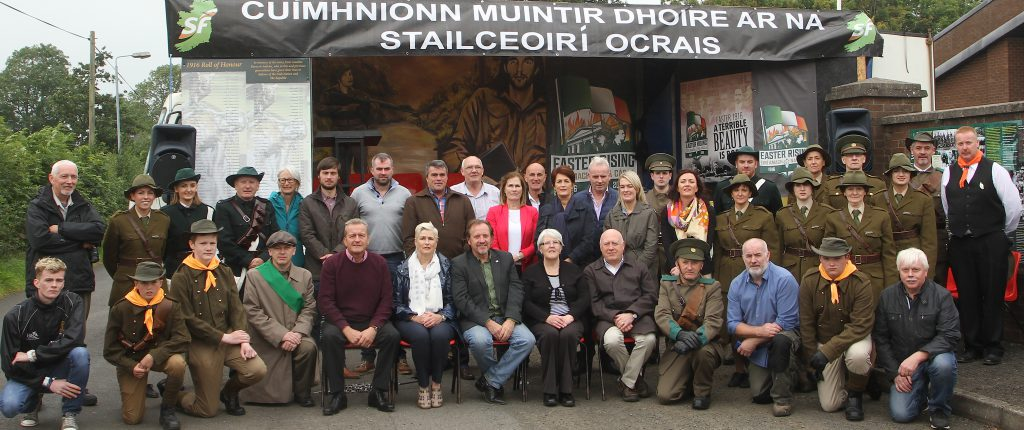 Among this group photograph taken after the commemoration are relatives of Thomas McElwee and Kevin Lynch